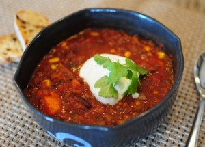 Both chilis feature a delicious Southwestern spice blend, are loaded with veggies and can be spiced to your liking Served with sour cream and cilantro