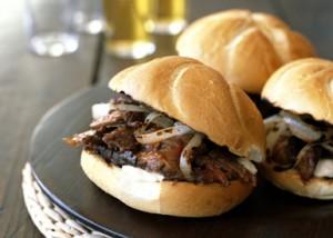 Hot beef on a bun