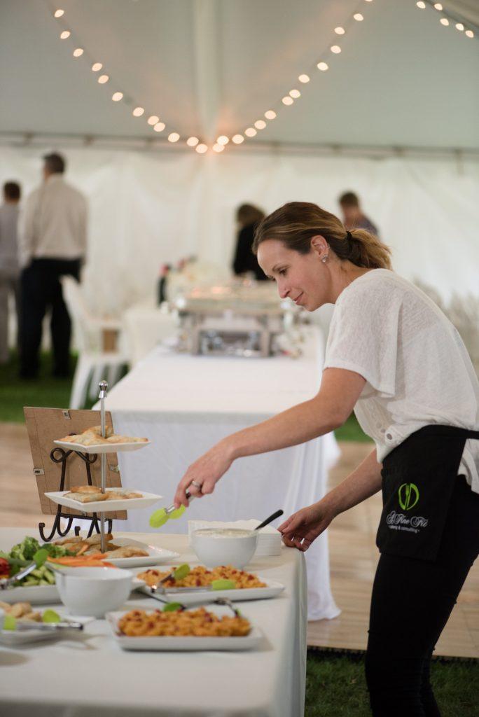 Server at wedding buffet